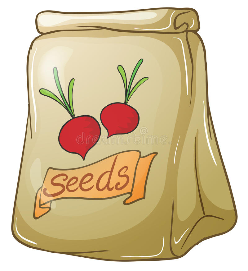 A pack of onion seeds. Illustration of a pack of onion seeds on a white background stock illustration