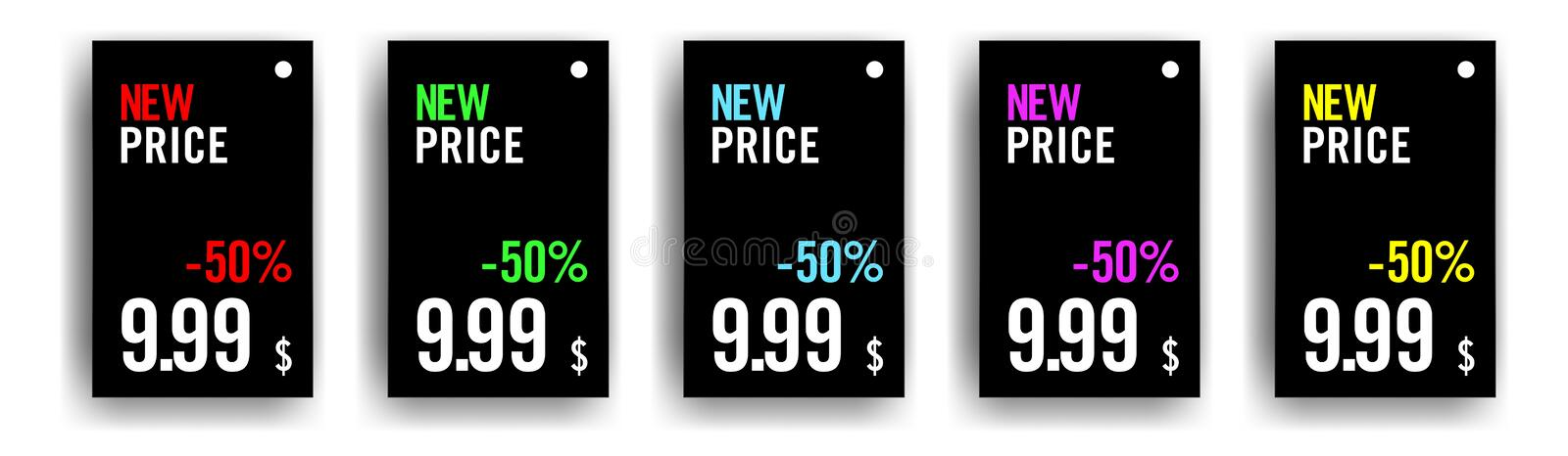 Pack of 5 product price tags with different colours in type vector illustration