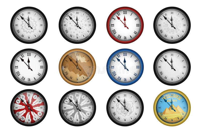 Pack of 12 realistic vintage clocks isolated on white. Vector illustration royalty free illustration