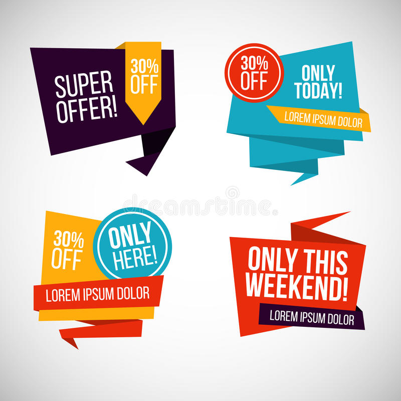 Pack sale stickers flat design. Vector Illustration royalty free stock images