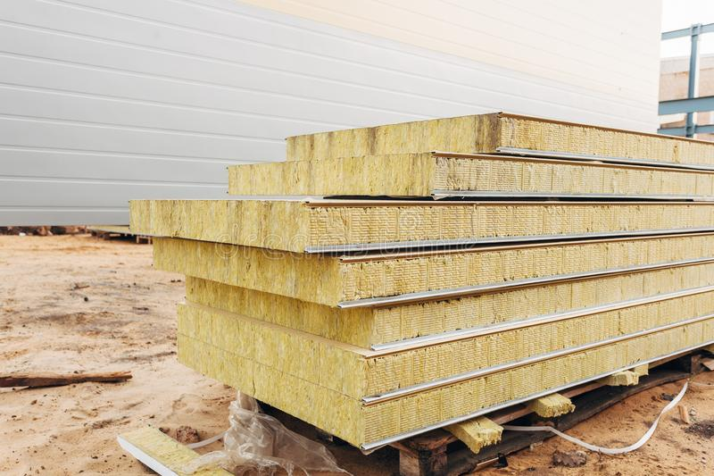 Pack of sandwich panel sustainable insulated ready for wall building.  royalty free stock photos