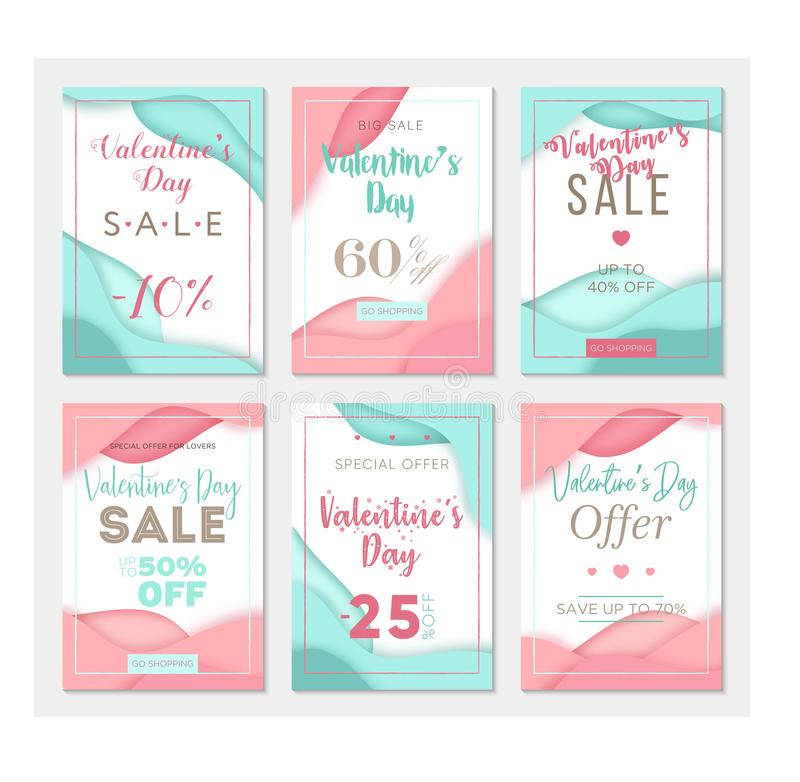 Pack of six sale banner templates to Valentine`s Day. Paper cut style. Pink and blue color backgrounds. Business templates vector illustration