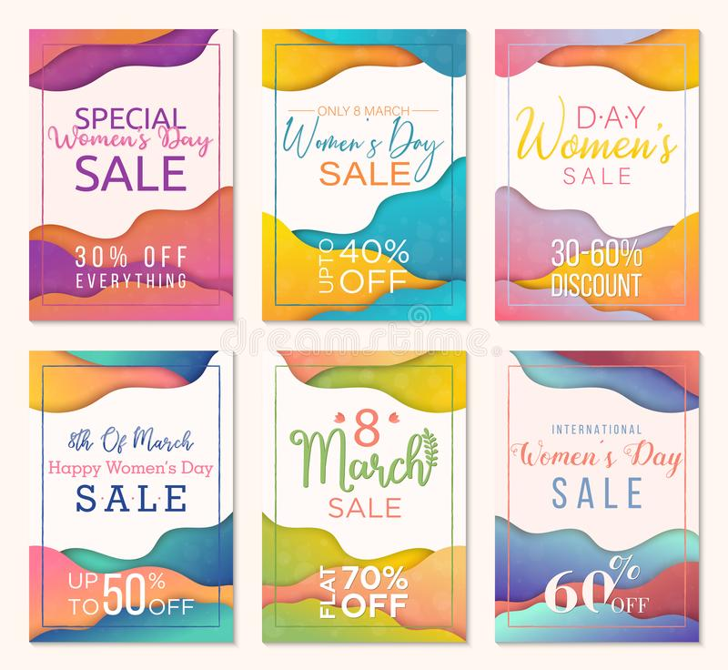 Pack of six sale banner templates to Womens Day. Paper cut style background. Colorful templates for business vector illustration
