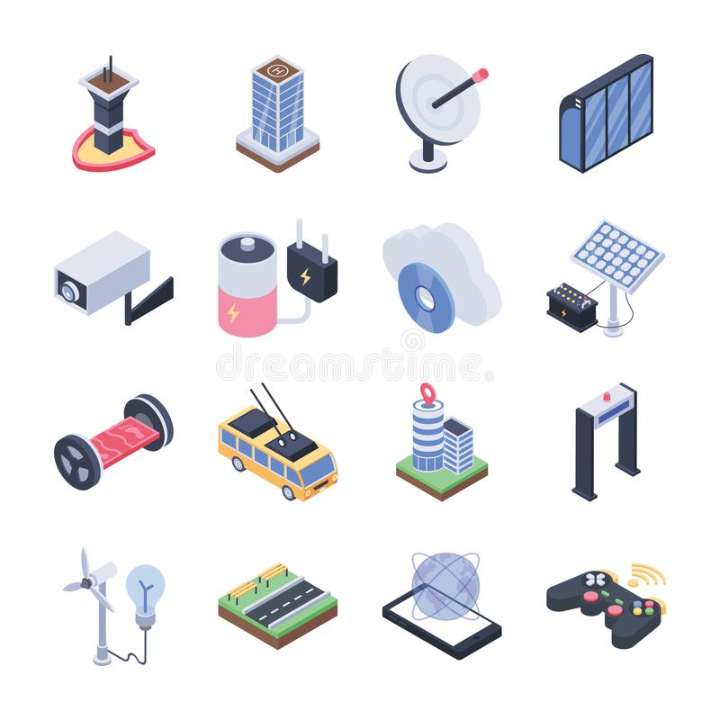 Smart City Isometric Icons Pack vector illustration