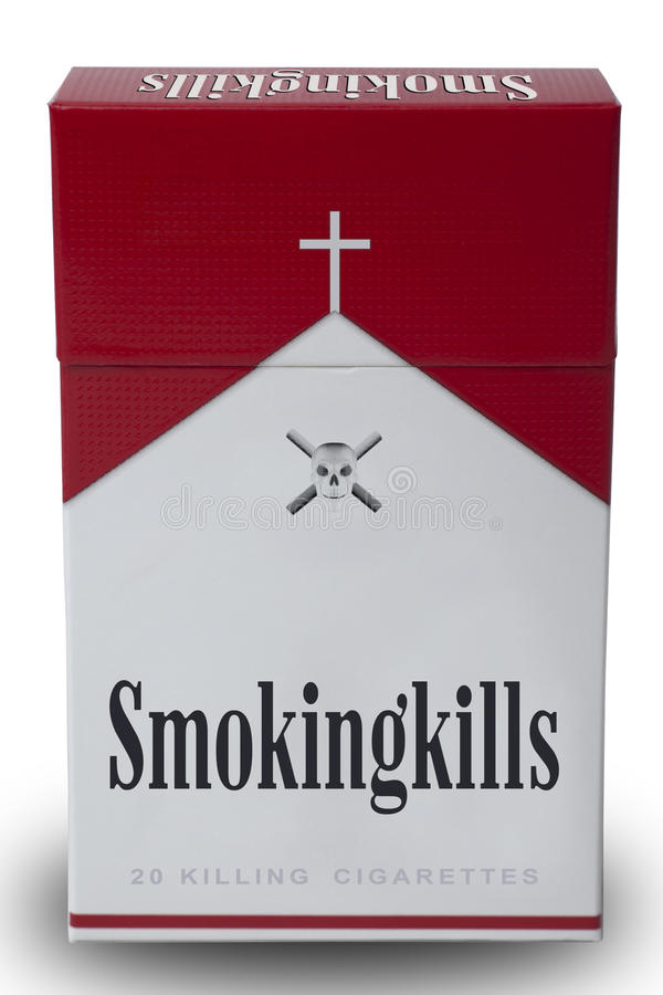 A pack of smoking kills. Isolated a pack of smoking kills cigarettes to mimic Marlboro royalty free stock photos