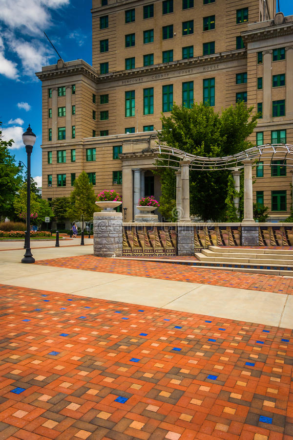 Pack Square Park and the Buncombe County Courthouse in Asheville, North Carolina. royalty free stock image