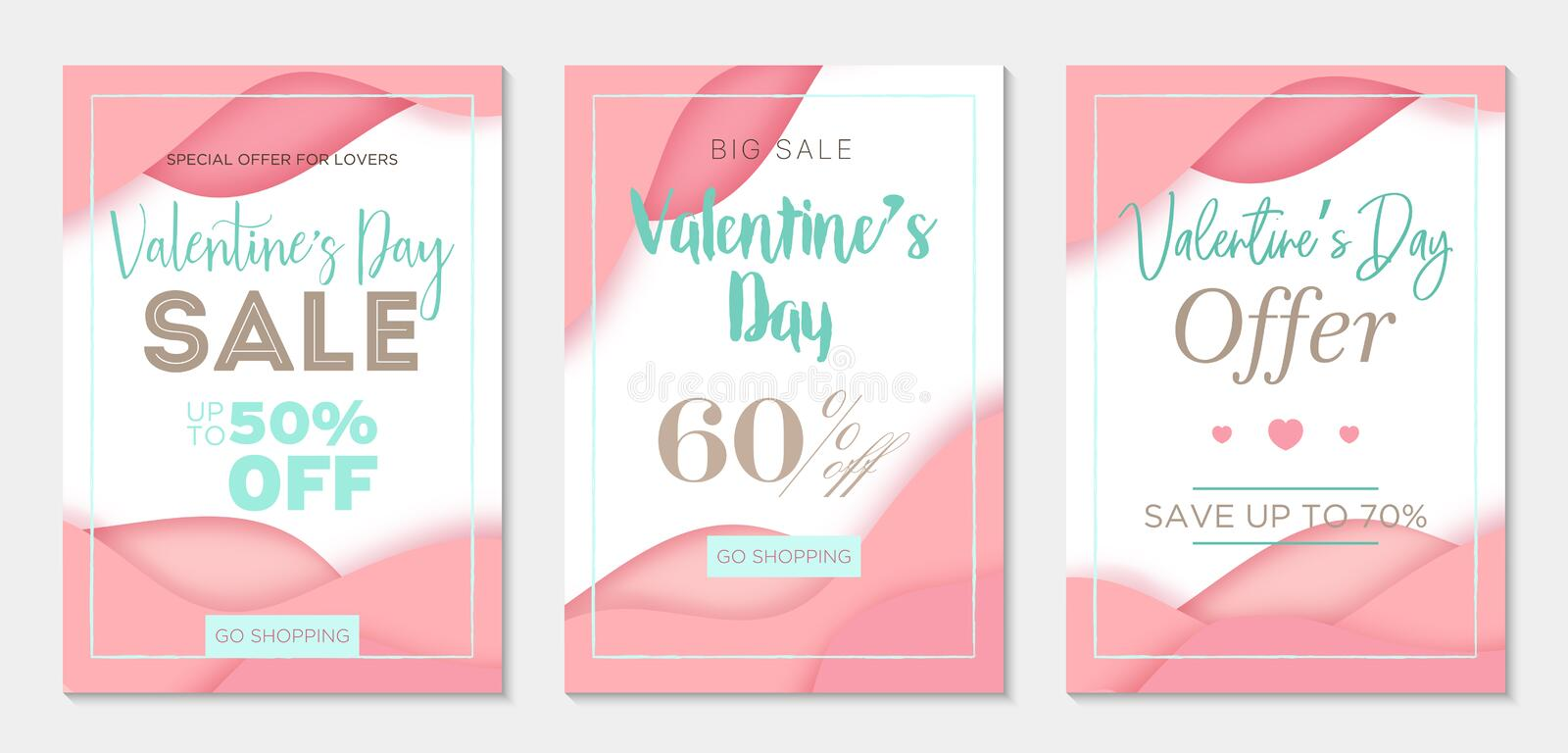 Pack of three sale banner templates to Valentine`s Day. Paper cut style. Pink backgrounds. Business tamplate stock illustration