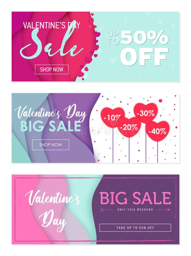 Pack of tree sale banner templates to Valentine`s Day. Special offers only for lovers. Abstract wavy shapes background royalty free illustration