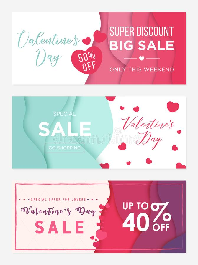 Pack of tree sale banner templates to Valentines Day. Super discount only for lovers. Abstract wavy shapes background royalty free illustration