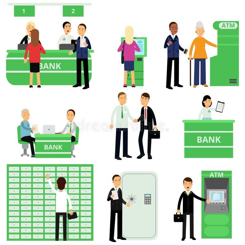 Packa ihop arbetare och deras klienter i olika lägen Folktecken i bankkontor Investeringledningservice stock illustrationer