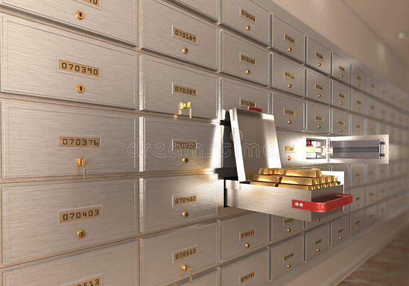 Packa ihop den öppna cellen för kassaskåpet med guld isolerad 3d royaltyfri illustrationer