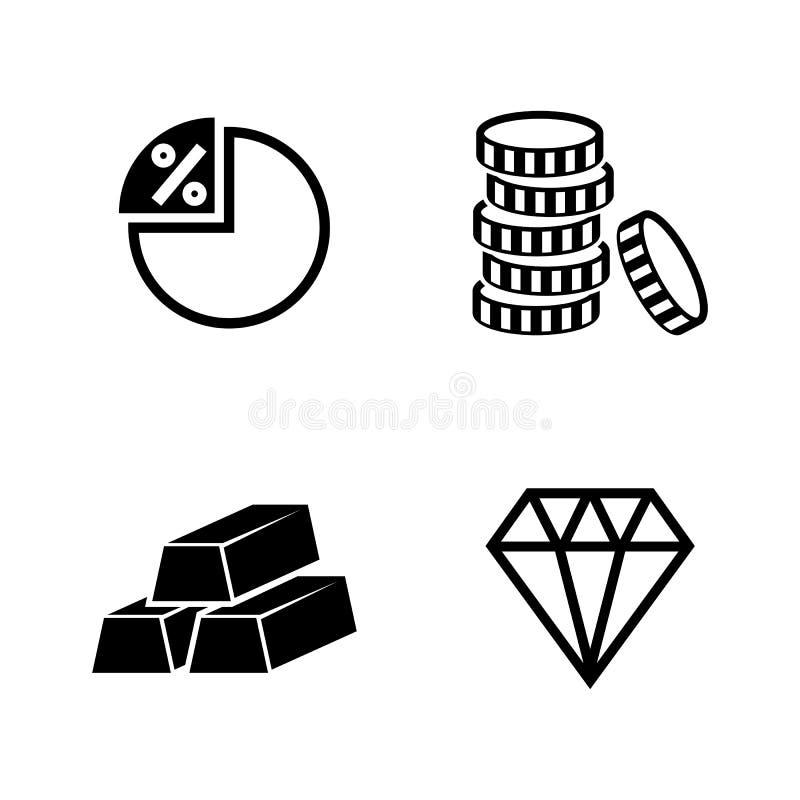 packa ihop finans Enkla släkta vektorsymboler stock illustrationer