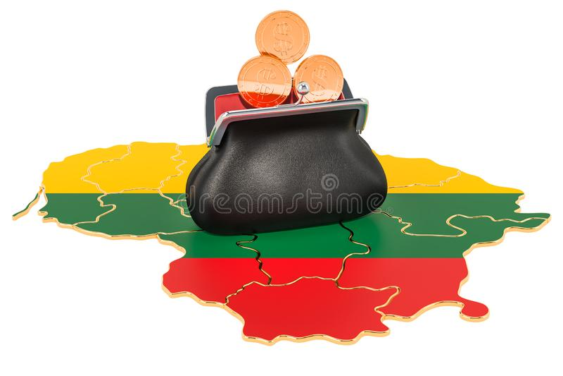 Packa ihop, investering eller finansiellt begrepp i Litauen framf?rande 3d vektor illustrationer