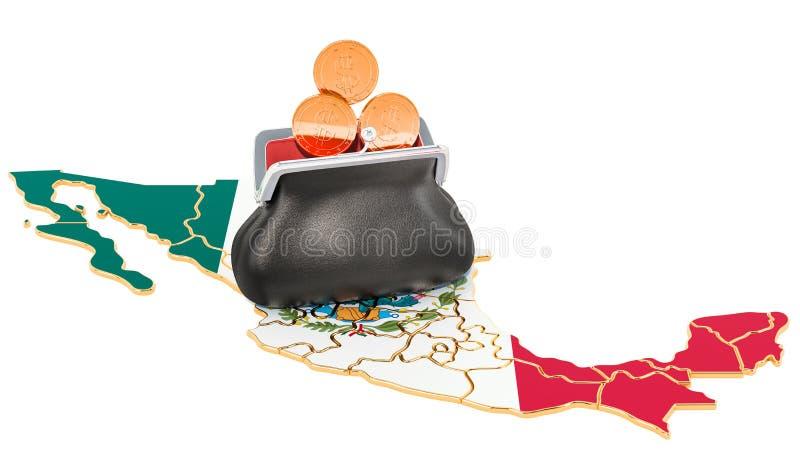 Packa ihop, investering eller finansiellt begrepp i Mexico framf?rande 3d royaltyfri illustrationer
