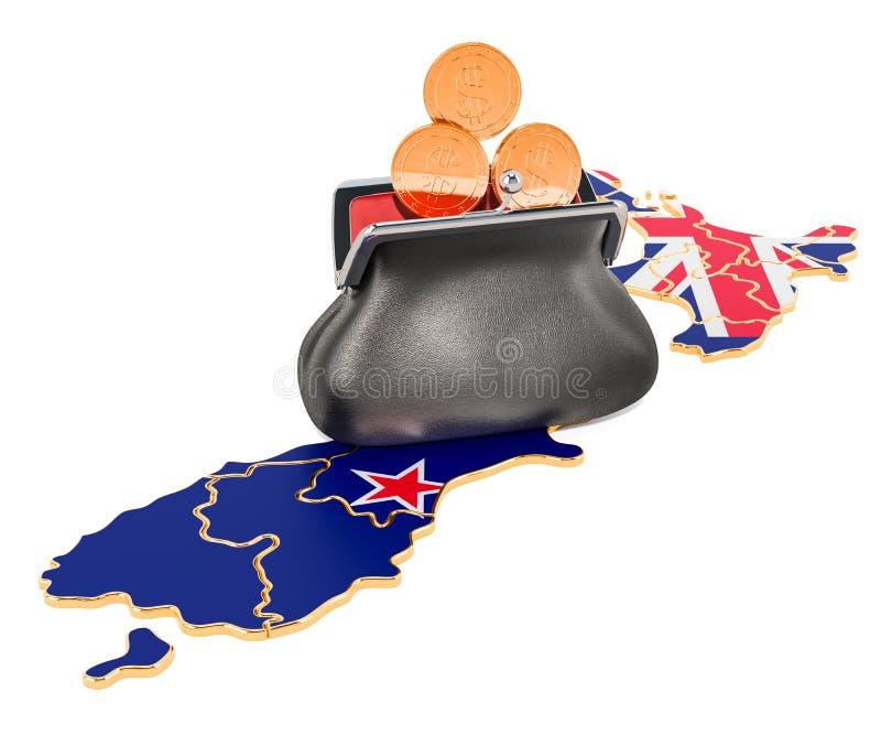 Packa ihop, investering eller finansiellt begrepp i nya Zeland framf?rande 3d royaltyfri illustrationer