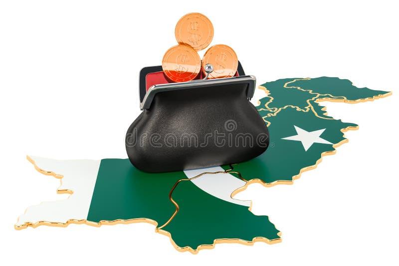 Packa ihop, investering eller finansiellt begrepp i Pakistan framf?rande 3d stock illustrationer
