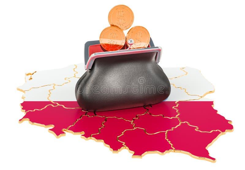 Packa ihop, investering eller finansiellt begrepp i Polen framf?rande 3d royaltyfri illustrationer