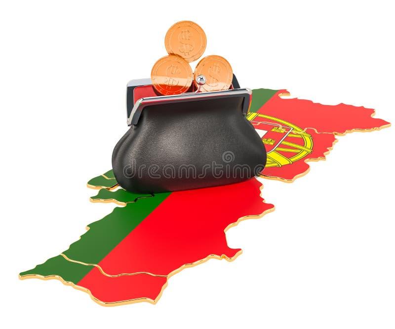Packa ihop, investering eller finansiellt begrepp i Portugal framf?rande 3d stock illustrationer