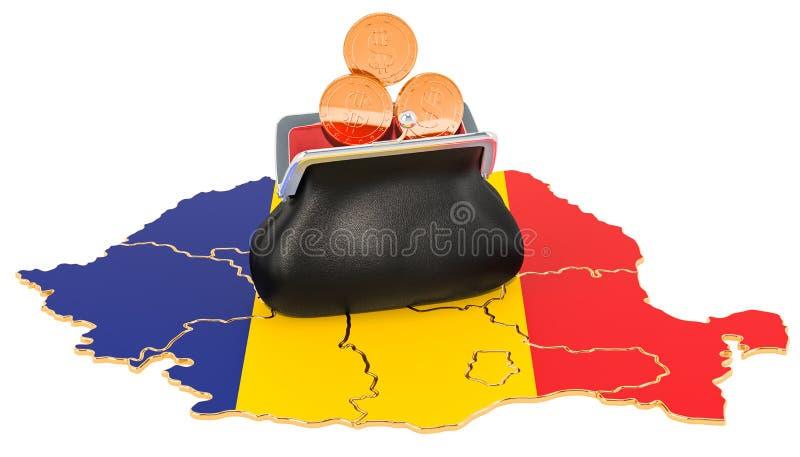 Packa ihop, investering eller finansiellt begrepp i Rumänien framf?rande 3d vektor illustrationer