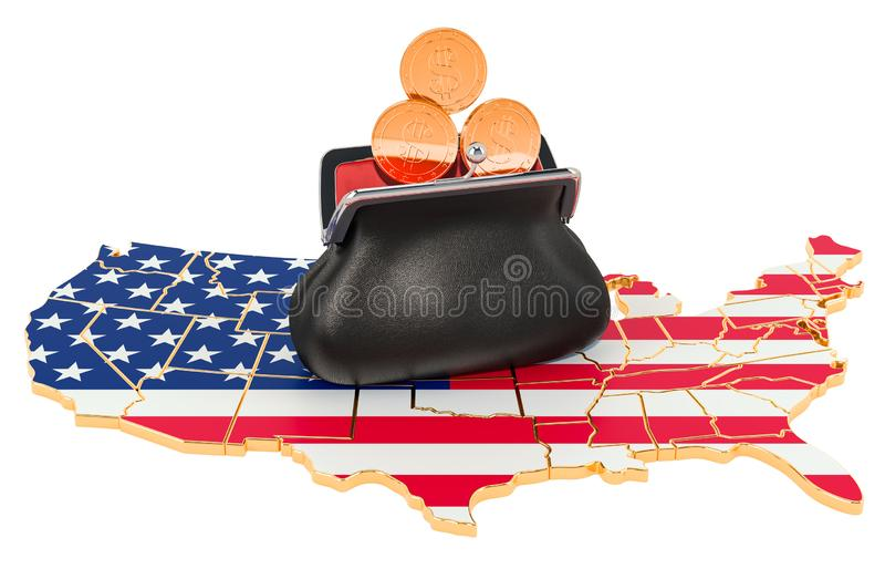 Packa ihop, investering eller finansiellt begrepp i USA framf?rande 3d stock illustrationer