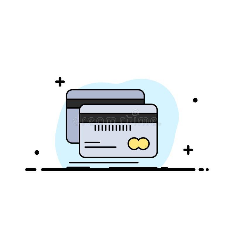 Packa ihop kort, kreditering, debitering, för färgsymbol för finans plan vektor vektor illustrationer