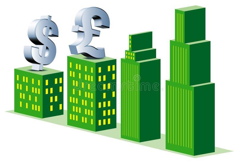 packa ihop som är finansiellt stock illustrationer
