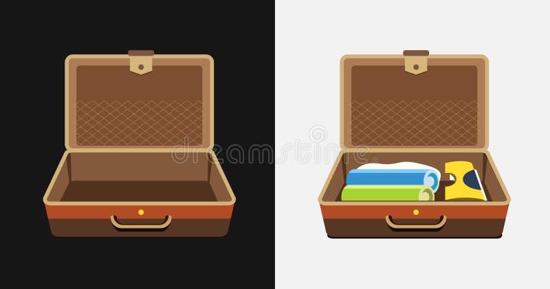 Packade och tomma resväskor för sommarferie - vektorn isolerade illustrationen vektor illustrationer