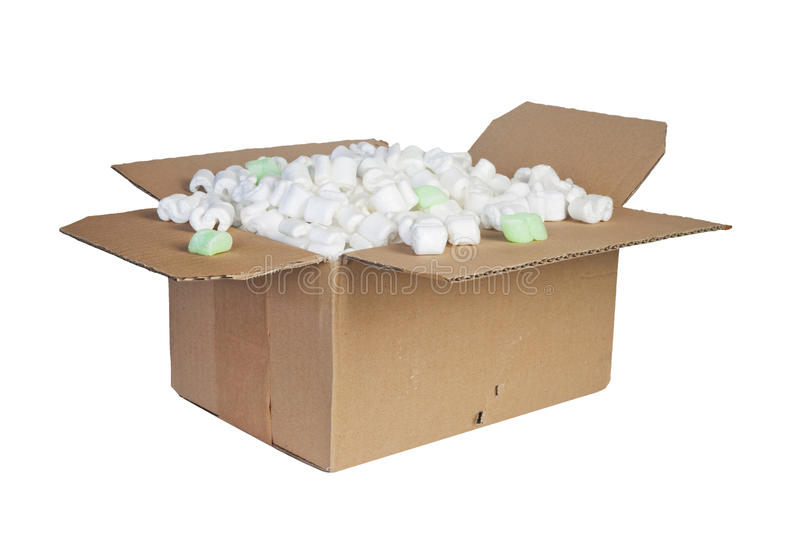 Package. With padding material, isolated royalty free stock photography