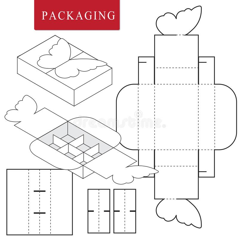 Package for bakery.Isolated White Retail Mock up.No glue royalty free illustration