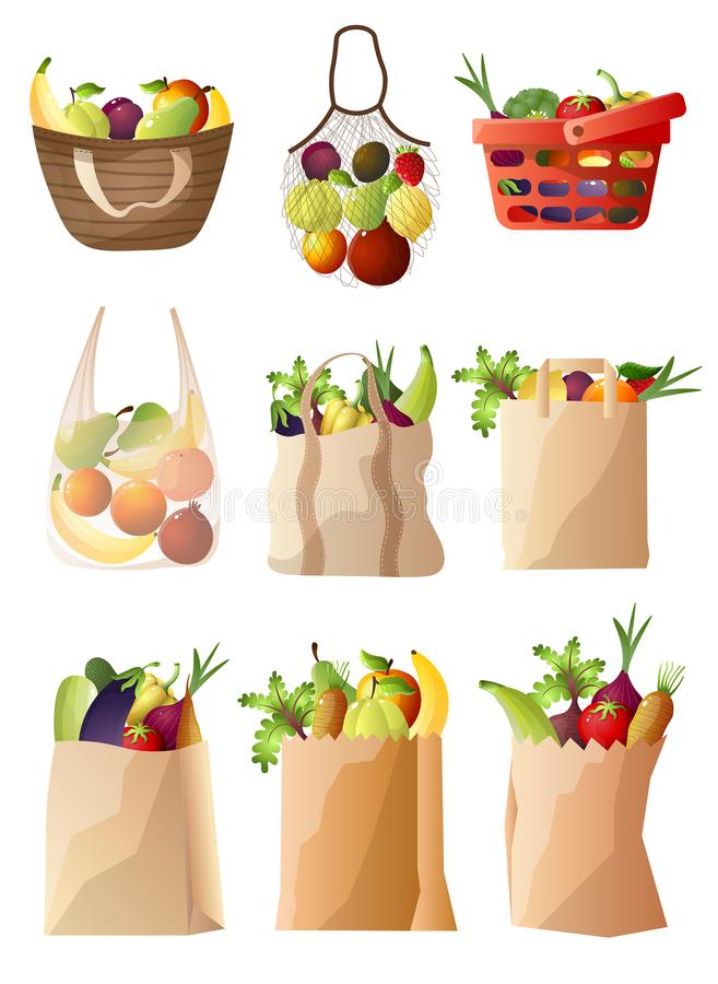 Package and basket with fresh, eco vegetables and fruits vector illustration