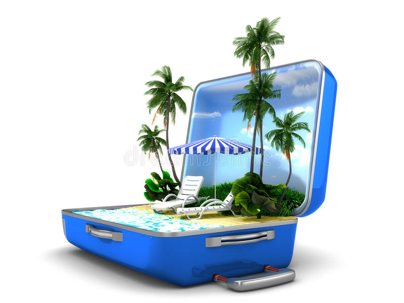 Package Beach Vacation Stock Image