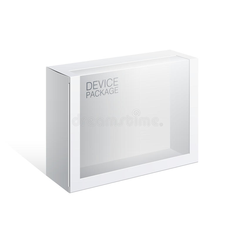 Package Box with a transparent plastic window stock illustration