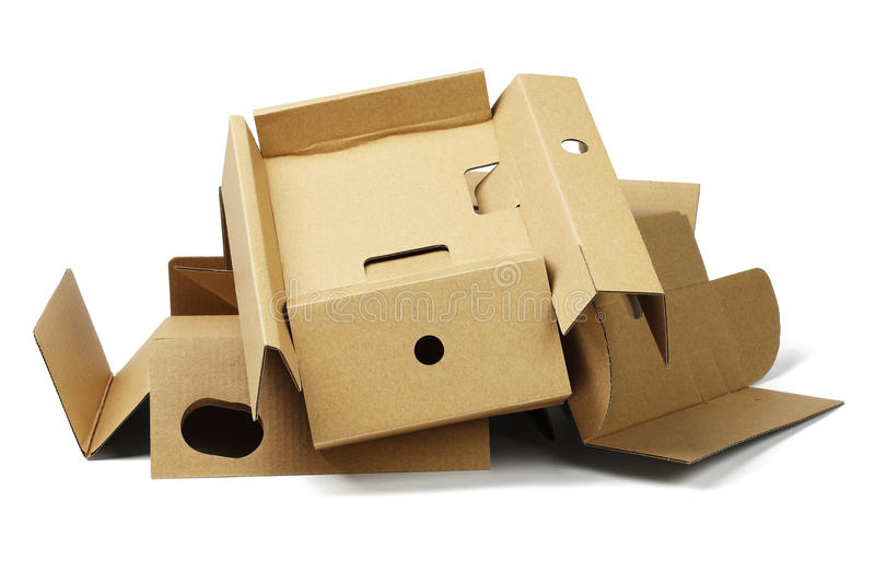 Package Cardboard For Recycling. Pile of Package Cardboard For Recycling on White Background stock image