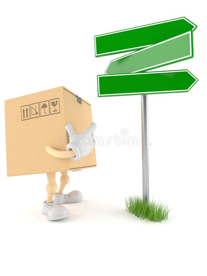 Package character with blank signpost. On white background vector illustration