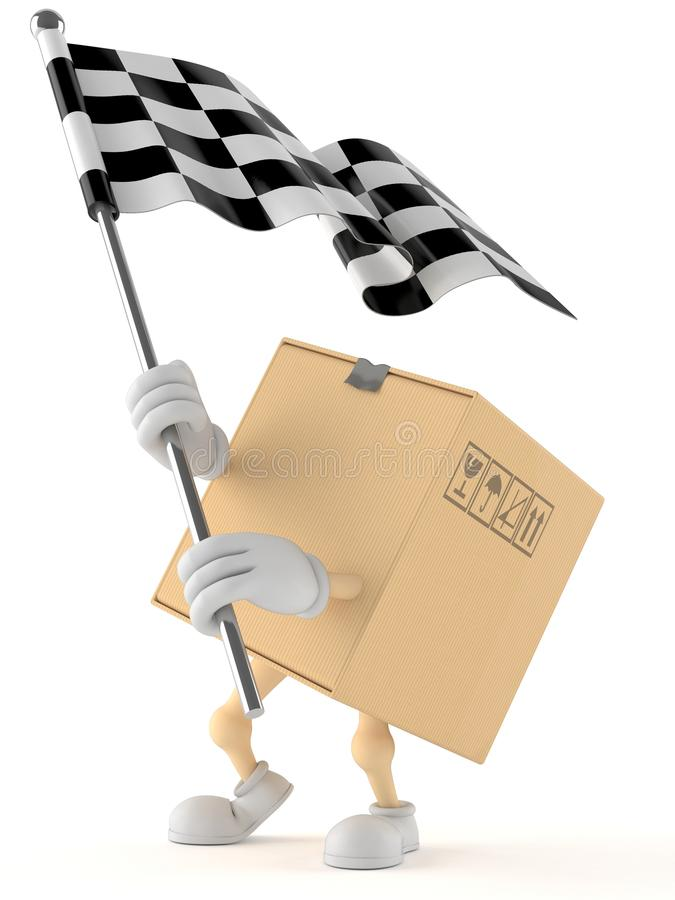 Package character with racing flag royalty free illustration