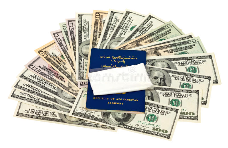 Package With A Drug And U.S. Dollars Stock Photo