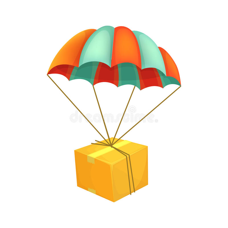 Package flying on parachute. Air shipping. Box vector icon. Delivery service concept. stock illustration