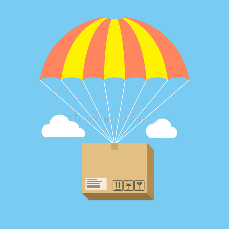 Package flying on parachute, delivery service concept. Flat desi royalty free illustration