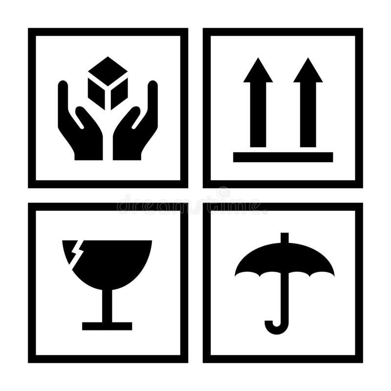 Package handling symbols illustration. With a white background royalty free illustration