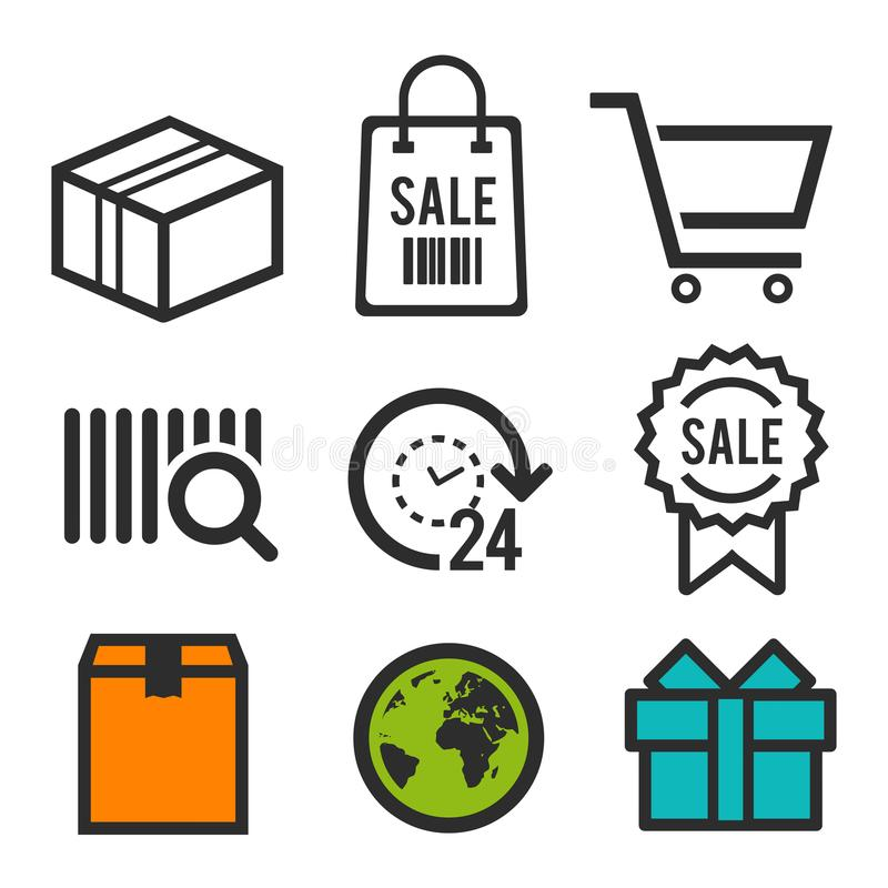 Package icon. Shopping bag, Shopping cart and sale symbols. 24 hour open icon. Birthday signs. World globe icons. Eps10 Vector. stock illustration