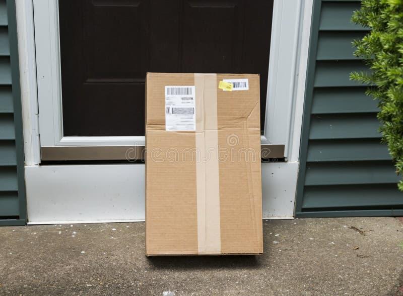 Package left at front door stock photo