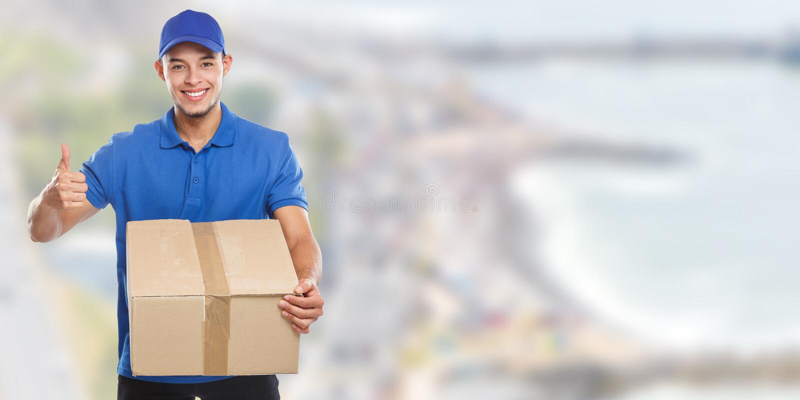Package parcel delivery service box order delivering job banner success copyspace copy space. Outdoors stock photography