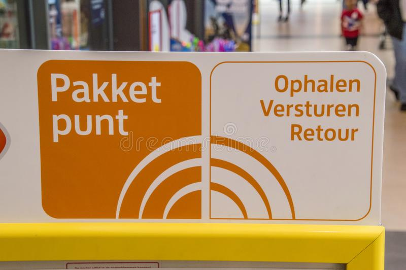 Package Pickup Point Sign From Post.nl At Diemen The Netherlands 2018 stock photography