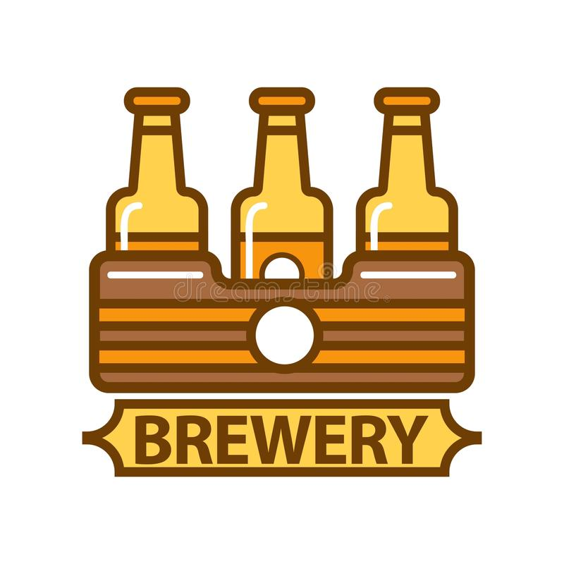 Package of three beer bottles brewery symbol flat design royalty free illustration