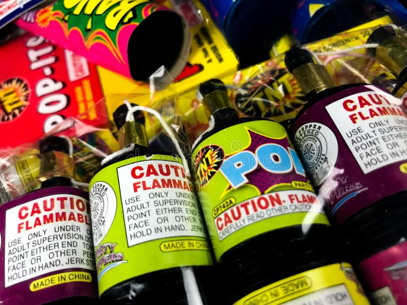 Package of a variety of different fireworks stock photography