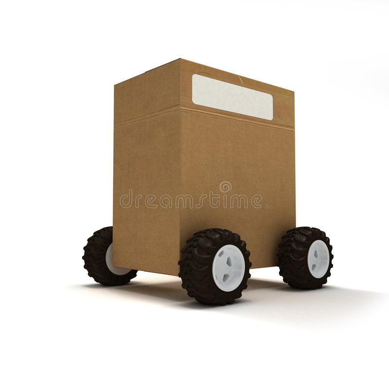Package on wheels royalty free illustration