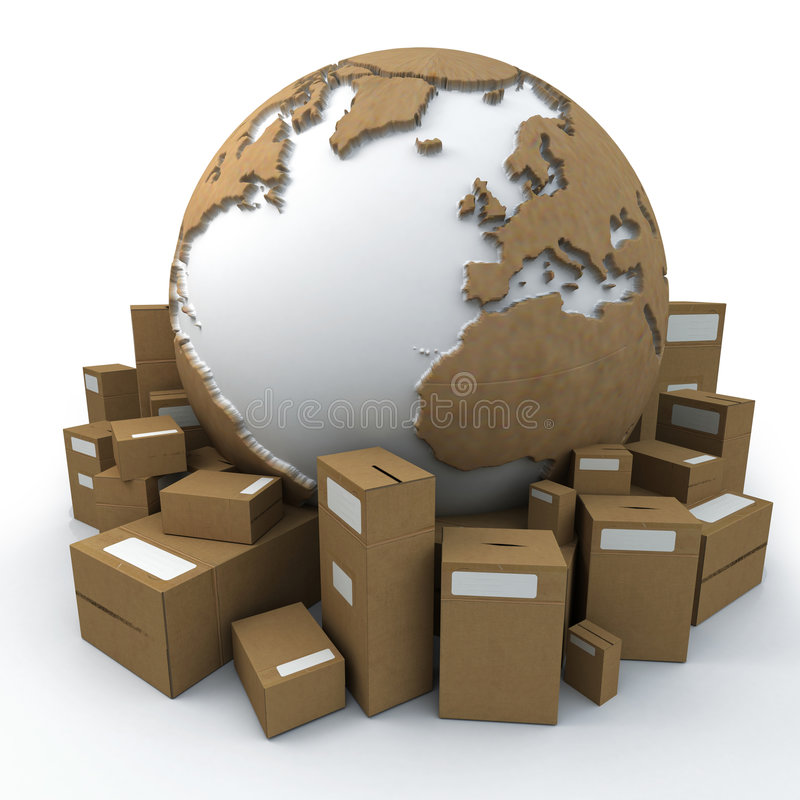 Packaged world. White and cardboard earth surrounded by big cardboard boxes