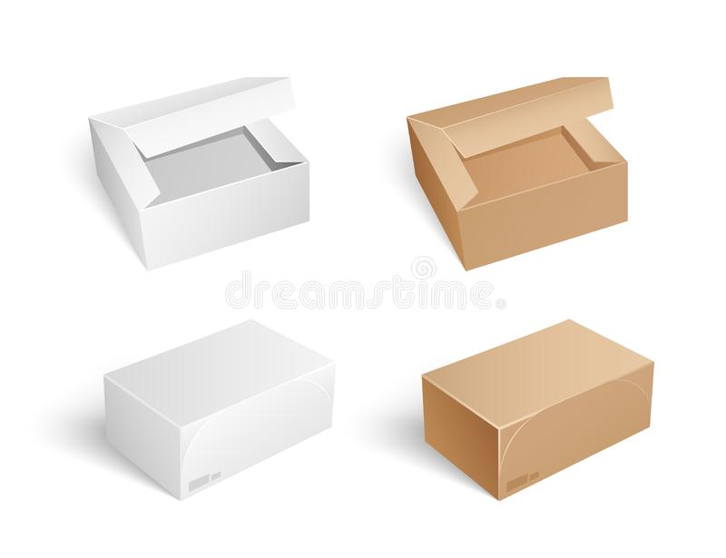 Packages and Boxes with Opened Cap Set Vector. Packages and boxes with opened caps isolated icons set vector. Packaging and storage, safe transportation and royalty free illustration