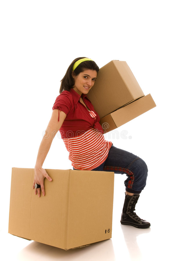 Packages for house moving royalty free stock images