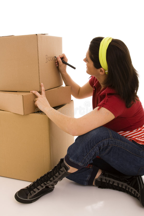 Packages for house moving royalty free stock image